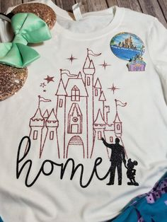 Glitter Disney Castle Home with Walt and Mickey - Long Sleeve or Short