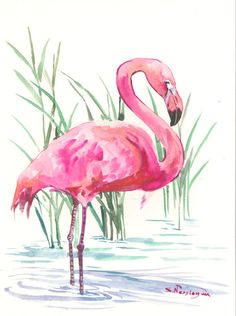 "Pink Flamingo, original one of  a kind flamingo watercolor ART 12"" x 9"", flamingo lover bird art, birds bird painting flamingo wall art"