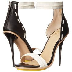 GX By Gwen Stefani Armin (White/Black Matte) High Heels ($37) ❤ liked on Polyvore featuring shoes, sandals, white, black white sandals, black white shoes, white and black sandals, white and black shoes and black and white shoes