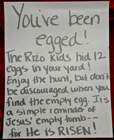 "Operation ""You've Been Egged!""- put eggs with goodies in someones yard for a fun easter service project with the kids!"