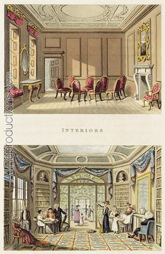 Living Room Interior Sketch - Interiors The Old Cedar Parlour and The Modern Living Room, from Fragments on the Theory and Practice of Landscape Gardening, pub 1816 Living Room Modern, Living Room Interior, Living Room Decor, Palace Interior, Cafe Interior, Regency House, Regency Era, Modern Georgian, Georgian Era