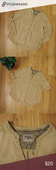 2150d5d5 Holding Horses Khaki Button-up from Anthropologie Holding Horses Khaki  button-up blouse from