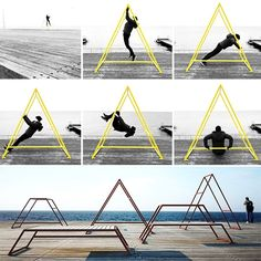 """Kebne Outdoor Gym Designed By Kauppi & Kauppi For Nola. """"Designed With Outdoor Fitness In Mind, Kebne Is A System Of Thr. Urban Architecture, Concept Architecture, Outdoor Fitness Equipment, No Equipment Workout, Gym Bar, Gym Setup, Diy Playground, Home Gym Design, Go Outdoors"""