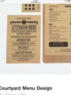 Afternoon menu