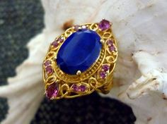 Lapis Lazuli, Rhodolite Garnet 14k YG over Sterling Silver Ring Size 6  6.610cts #GemsinVogue #BirthdayAnniversaryHolidayanytime