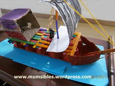 Pirate Ship Craft using Egg Carton & Popsicle Sticks Step by Step Instructions