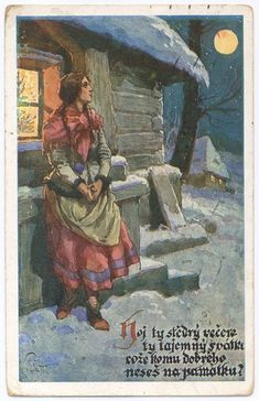 Old Czech Christmas Card All Things Christmas, Christmas Cards, Silent Night, Winter Solstice, Yule, Retro, Holiday, Painting, Ancestry