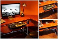 Keyboard that tucks away on my ergonomic computer desk.  #ergonomic #desk #pipedesk #keyboard