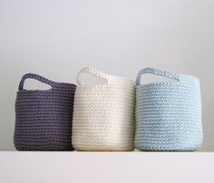 Set of 3 Storage Basket in Light turquoise, Beige and Gray - DIY these for mud room storage under the bench