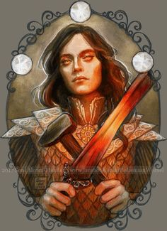 Fëanor, light of creation, fire of destruction. The flamey disgruntled one is shown here with both the sword he forged and scale armour inspired by. Feanor Spirit of Fire Tolkien Books, J. R. R. Tolkien, O Silmarillion, Fire Art, Elvish, Thranduil, Thing 1, Middle Earth, Lord Of The Rings