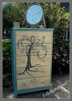 Laminate Furniture Can Be BEAUTIFUL Too. Hand Painted Willow Dresser