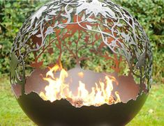 Sperical Firepit With Orchid Theme