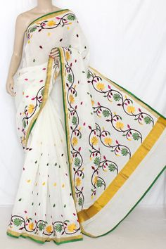 Off-White Multi-colour Embroidered Kerala Cotton Handloom Saree (With Blouse) 13779