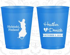 Finland Wedding, Imprinted Shatterproof Cups, Destination Wedding, Blue Frosted Cups, Helsinki Wedding (174)