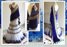 This saree is inspired by Mughal theme. Lehenga part is made of Peach color net having thread motifs on it. Dupatta is of blue net having thread work. Blouse fabric is raw silk in purple color having