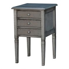 Tables - Side Tables - Emily 3 Drawer Side Table w/ Tin :: The Bramble Company.