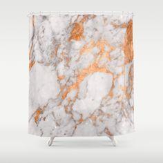 Elegant copper & marble shower curtain. Minimal classic modern decoration for your home. Geode bathroom decor. Rose gold, white, grey, gray, metallic, stone, granite.