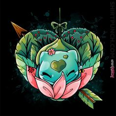 Along with Squirtle and Charmander, Bulbasaur is one of the three starters available at the beginning of Red and Blue. Day Of The Shirt, Pokemon Tattoo, Cute Pokemon, Pokemon Craft, Pokemon Gifts, Anime Tattoos, Nerdy Tattoos, Valentine T Shirts, Art Inspo