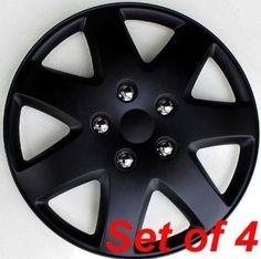 "4 NEW OEM MATTE BLACK 16/"" HUBCAPS FITS MITSUBISHI SUV CENTER WHEEL COVERS SET"