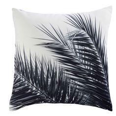 Coussin en tissu noir et blanc imprimé palmier 45x45cm AROHA