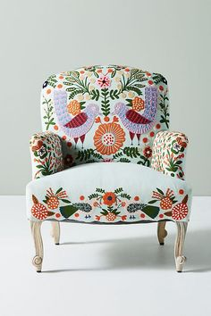 Jimena Occasional Chair - Pretty upholstered chair w/ applied felt & embroider - Birds, flowers & other plant motif - Whimsical decor furniture chair Cool Furniture, Living Room Furniture, Painted Furniture, Furniture Design, Furniture Dolly, Furniture Stores, Retro Furniture, Furniture Upholstery, Furniture Outlet