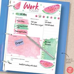 Plan your day with this cute watermelon work planner. Download the PDF planner printable for your A5/A4/Letter/Half size planner. For more planner printables, visit us at http://www.etsy.com/shop/stickwithsam | Work Planner Organization | Work Planner Daily | Printable Work Planner | Work Motivation | Work Inspiration | Printable Planner | Printables