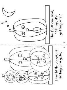 5 Little Pumpkins mini-book template