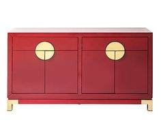 Kare Design - Dressoir Lize, rood/goud, B 156 cm
