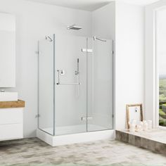 Vigo Frameless Clear Shower Enclosure and Right Base (32 x 40) (Chrome Vigo 32 x 40 Frameless 3/8 Clear Shower Enclosure with Right Base)