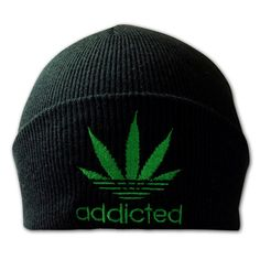 f3404e5eea6 Unisex Weed Leaf Cannabis Addicted Embroidered Marijuana Winter Hat Parody  Beanie – One Size – Hipster