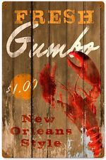 Retro Vintage Fresh Gumbo New Orleans Lobster Metal Sign Kitchen Wall Decor 222