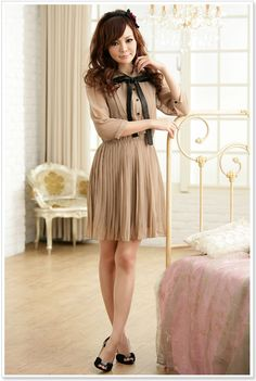 New Korean Women Chiffon Summer New Fashion Short Sleeve Solid Color Mini Dress | eBay This would be a super cute dress for a deer costume, plus it's only 14.99!!