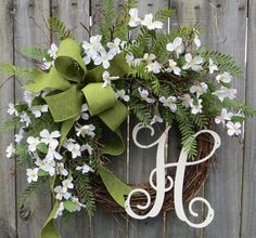 Spring Wreath, Door Wreath with Dogwood and Monogram Letter, Green and White Wreath, Spring has Sprung Wreath, North Carolina Wreath