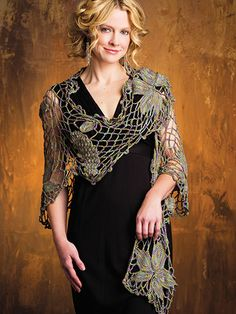 Crochet - Accessory Patterns - Ponchos, Shrugs, Shawls & Wraps - Vineyard at Dawn Shawl