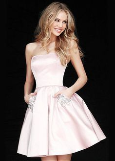 Winsome Satin Strapless Neckline Short A-line Homecoming Dresses With Pockets & Beadings