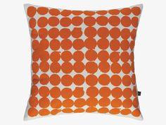 SPOT ORANGE Cotton 45 x 45cm orange spot patterned cushion - HabitatUK
