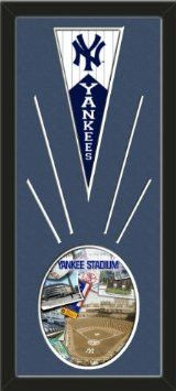 New York Yankees Wool Felt Mini Pennant & Yankee Stadium Composite Photo - Framed With Team Color Double Matting In A Quality Black Frame-Awesome & Beautiful