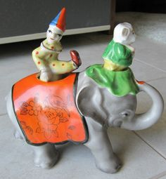 Vintage Japan Patent T.T. Nodder Elephant Clown Dog Circus Salt Pepper Shakers | eBay