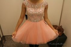 Coral sparkly short prom dress