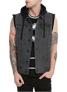 Faded black denim vest from RUDE with fleece cap arm openings and removable black hood.<ul><li> 100% cotton</li><li>Wash cold; dry low</li><li>Imported</li><li>Listed in men's sizes</li></ul>