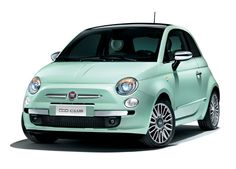 Mint green Fiat 500 - might treat myself to one of these.
