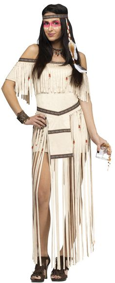 A great costume for any event involving a native American look. Buff fringe dress and headband. Small/medium adult size fits sizes 2-8.