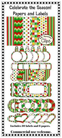 Celebrate the Season (Paper and Coordinating Labels) $  36 png images in all! http://www.teacherspayteachers.com/Product/Clip-Art-Celebrate-the-Season-Papers-and-Labels-Freebie-in-preview-977449