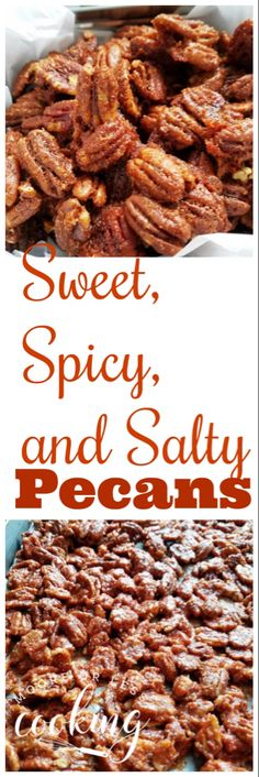Sweet Spicy and Salty Pecans Moore or Less Cooking An incredibly tasty combination of sweet spicy and salty roasted pecans Perfect for snacks or as an appetizer or gifts. Spicy Pecans Recipe, Spicy Nuts, Spiced Pecans, Roasted Pecans, Sweet And Spicy Pecan Recipe, Glazed Pecans, Appetizer Recipes, Snack Recipes, Dessert Recipes
