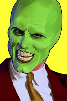 my digital painting of Jim Carrey as The Mask