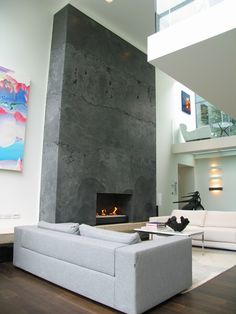Polished concrete fireplace by Darksoi