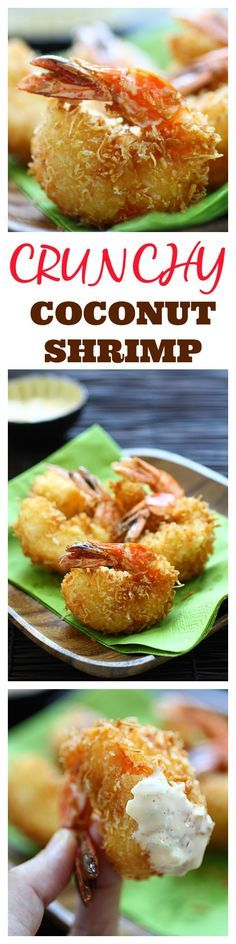 Crunchy Coconut Shrimp. The best coconut shrimp recipe ever with two secret ingredients, served with creamy tartar sauce. Super YUM | http://rasamalaysia.com