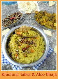 Bengali Durga Puja cuisine: Niramish Khichuri alu bhaja and Labra (Vegetarian Khichuri, potato julienne fries and bengali style mix-vegetables)
