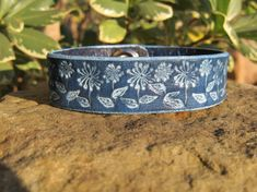 Hand Painted Tooled Leather Bracelet Cuff  Pom by SarahsArtistry, $15.95