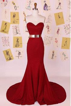 Dark Red Sweetheart Mermaid Long Prom Dress/Little Mermaid Evening Dress/Red…